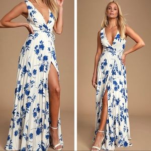 Lulu's Lindsie Blue and White Maxi Dress